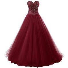 Dresstells Long Prom Dress Tulle Ball Gown Formal Party Dress... ($150) ❤ liked on Polyvore featuring dresses, gowns, long evening dresses, long red dress, red gown, burgundy prom dresses and red quinceanera dresses