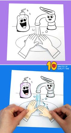 10 Minutes of Quality Time Washing hands preschool craft Silk Sheets - Should We All Have Them? Drawing For Kids, Art For Kids, Crafts For Kids, Toddler Crafts, Preschool Worksheets, Preschool Crafts, Shapes Worksheets, Germ Crafts, Hygiene Lessons
