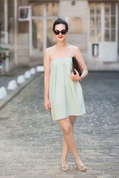 pale mint green dress + red lips + sunnies