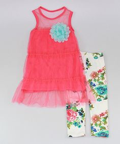 This Fuchsia Sheer Layered Tunic & Floral Leggings - Toddler & Girls by Mia Belle Baby is perfect! #zulilyfinds