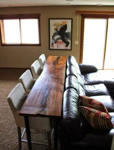 Redefining the Sofa Table: Add Chairs! LOVE THIS! BEAUTIFUL WOOD.