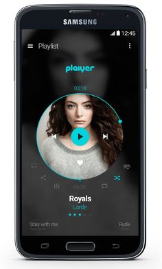 A music player prototype. Plaiyer offer a simple circular design to control the tracks in playlist (Play, Stop, Next, Previous).I would like to develop the app , so it would be gre… Mobile Ui Design, App Ui Design, Application Design, Mobile Application, Web Site Development, Music App, Ui Web, Premium Wordpress Themes, Design Reference