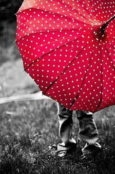red polka dot umbrella / color splash