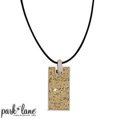 Glam Necklace  Inspired by a top designer who creates the unique and unusual, each of our Glam accessories is encrusted with glittering gold micro-mini sequins. The slim rectangular pendant is suspended from a black fabric cord by a stippled silver bail. Slip off the pendant and wear it on a long chain or on a collar necklace like Roundabout. Sparks fly from the brilliant crushed gold glitter of the matching wide hoop earrings and the sensational hinged bangle bracelet.