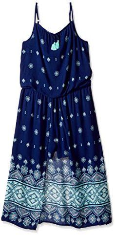 My Michelle Big Girls' Cold Shoulder Romper Maxi Dress with Tassel Tie:   Cold shoulder romper maxi dress with tassel tie; romper shorts underneath open maxi skirt