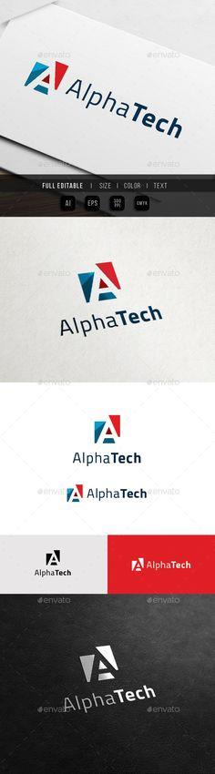 A Logo  Alpha Tech — Vector EPS #tech #data • Download here → https://graphicriver.net/item/a-logo-alpha-tech/11899216?ref=pxcr
