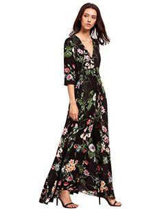 Bohemia Floral Long Dresses Women Summer Dress Maxi Sundress Button Up Split Print Flowy Evening Party Dresses Vestidos Size S Color 1 Chiffon Maxi Dress, Floral Maxi Dress, Boho Dress, Summer Dresses For Women, Fall Dresses, Casual Dresses, Dress Out, Types Of Dresses, Club Dresses