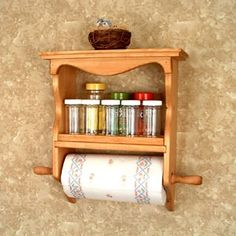 Spice Rack Paper Towel by TwinMtnCollections on Etsy Wooden Shelves, Wall Shelves, Wooden Boxes, Spice Rack And Paper Towel Holder, Kitchen Roll Holder, Shelf Paper, Towel Shelf, Wood Crafts, Wood Projects