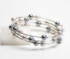 Floating Pearl Memory Wire Bracelet - Swarovski Pearl Bracelet in White and Silver Gray - Handmade Jewelry