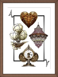 For four final aces, each representing their suit's archetype. A corseted heart for the Lovers and Rogues (hearts), a tri-balloon Airship for the Aviators (Clubs), a sparkling chandelier for the Gliteratti (Diamonds), and a Clockwork Ace for the Industrials (Spades)  #steampunk #bicycle #aces