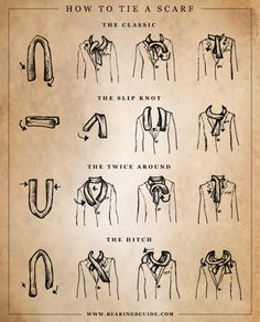 Different ways to tie a men's scarf