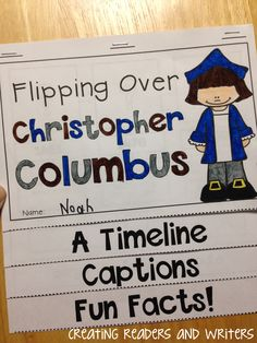 Learn more about Christopher Columbus with this no-prep nonfiction flip book.  It includes text features; a timeline, captions, and fun facts.  Dotted lines and staple marks are provided so students can complete it themselves.  ($) #columbusday