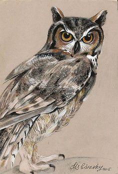 OWL-Bird-Wildlife-Original-Bird-ACEO-Acrylic-painting-Nataly-art