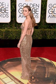 Pin for Later: Brie Larson Looks Like an Actual Golden Globe on the Red Carpet
