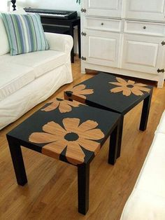"Mary Beth M. from Pinterest shows how you, can get creative with spray paint:  ""Cheap end tables from a thrift store, stencil, black spray paint, and you are set. Completed in 20 minutes""  Black spray paint available @ http://www.seymourpaint.com/fresh_n_quick.html"