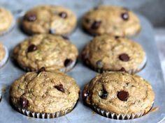 Skinny Zucchini Banana Chocolate Chip Muffins | ambitiouskitchen.com