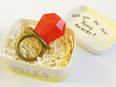 Will you be our ring bearer? Teething ring proposal box for the baby ring bearer. Baby Ring Bearers, Ring Bearer Gifts, Glitz Wedding, Our Wedding, Dream Wedding, Diy Rings, Be My Bridesmaid, Wedding Planning, Perfume Bottles