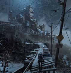 View an image titled 'Russian Hub Art' in our Rise of the Tomb Raider art gallery featuring official character designs, concept art, and promo pictures. Fantasy Places, Fantasy World, Fantasy Art, Landscape Concept, Fantasy Landscape, Environment Concept Art, Environment Design, Post Apocalypse, Apocalypse Survival