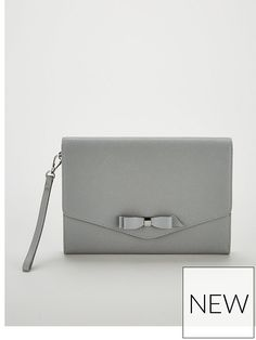 95f5ace55c4 Ted Baker Krystan Bow Leather Envelope Pouch Clutch Bag - Grey