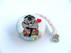 Tape Measure with Yarn Sheep and Wool by AllAboutTheButtons