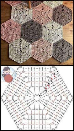 Crochet Motifs, Crochet Blocks, Granny Square Crochet Pattern, Crochet Diagram, Crochet Chart, Crochet Squares, Crochet Hexagon Blanket, Hexagon Quilt, Tatting Patterns