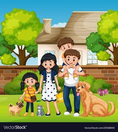 Family in front house vector image on VectorStock Art Drawings For Kids, Kids Artwork, Cute Drawings, Family Clipart, Family Vector, Preposition Activities, Family Sketch, Picture Borders, Childhood Memories 90s
