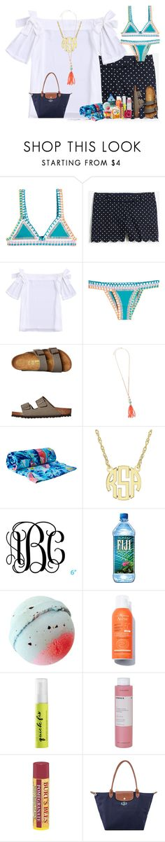 """Beach contest •2•"" by livnewell ❤ liked on Polyvore featuring kiini, J.Crew, Birkenstock, Lilly Pulitzer, Urban Decay, Korres, Burt's Bees, Fujifilm and Longchamp"