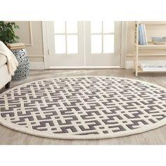 Handmade Moroccan Dark Grey Wool Floor Rug (7' Round) | Overstock™ Shopping - Great Deals on Safavieh Round/Oval/Square