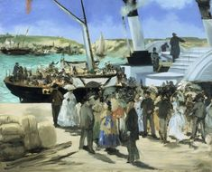This image of the steam ferry that carried passengers from Boulogne to Folkestone, on the Channel coast in England, is one of two paintings that Manet made of the subject. The painting conveys the bustle and excitement of international travel in the early days of the steamboat's operation. Manet employed thick and sometimes choppy brushstrokes to provide a sense of the enormous visual interest the scene held for him. His signature on this painting indicates that he considered it complete,...