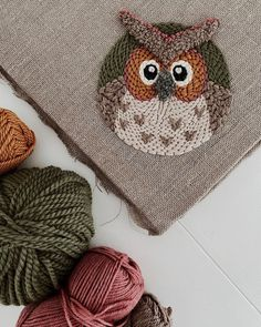 Owl 🦉 by Punch Needle Kits, Punch Needle Patterns, Floral Embroidery Patterns, Embroidery Art, Little Girl Toys, Crafty Fox, Owl Punch, Weaving Projects, Quilling Cards