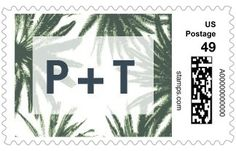 Adorned Frame: Palms - Personalized Postage Stamps - Tallu-lah - Willow - Gray : Front