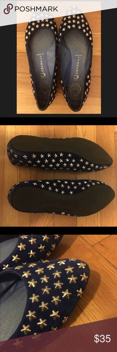 Barely worn Jeffrey Campbell Blue Suede Star Flats Dark blue suede ballet flats by Jeffrey Campbell with silver stars all over. Only one star missing, see photos. Jeffrey Campbell Shoes Flats & Loafers