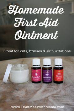 Homemade First Aid Ointment Recipe #essentialoils #DIY #wellness - DontMesswithMama.com