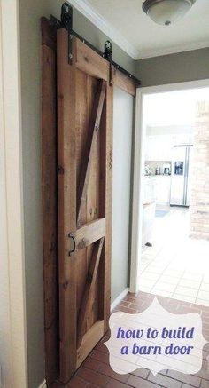 Easy DIY guide to building a barn door from scratch for only $75! by Kim's Own