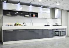 Cocina moderna. Textil gris