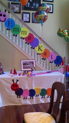 EK'S caterpillar birthday party.  Decorations by my sweet niece and sister!
