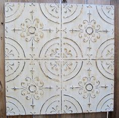 2u0027x2u0027 Antique Ceiling Tin Tile Circa 1910. Off White FRAMED Ready To Hang.  Great For Magnet Board. Architectural Salvage