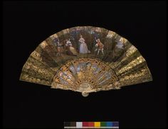 Fan, 1840-1860. French. Gouache and gilt on paper, with carved, pierced, painted, gilt and silvered mother-of-pearl sticks and ivory guards. V & A Museum.