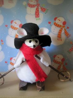 Felt Mouse Dressed as a Snowman on Skis by atticmouse on Etsy, $16.00