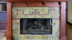 A geometric fireplace by Pasadena Craftsman Tile. More fireplace, Craftsman Tile Makers Craftsman Tile, Craftsman Fireplace, Craftsman Interior, Craftsman Style Homes, Craftsman Bungalows, Craftsman Decor, Craftsman Kitchen, Farmhouse Fireplace, Craftsman Houses