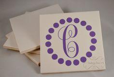 Set of 4  Circle Dot Monogrammed Personalized by SouthernSassByLC  #personalized #monogram #monogrammed #coaster #coasters #setofcoasters #circle #girly #script #initial #giftideas #under20dollars #wedding #marriage #newlyweds #housewarming #gift #ideas #shower #giftset #custom #anycolor #dots #polkadots #setof4 #southernsass #handmade #etsy