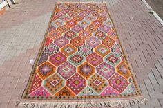 VINTAGE Turkish Kilim Rug Carpet Handwoven Kilim by misterpillows