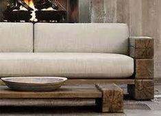 railroad tie sofa - Google Search Rustic Couch, Rustic Outdoor Furniture, Wood Sofa, Outdoor Benches, Outdoor Couch, Rustic Desk, Bedroom Rustic, Rustic Nursery, Rustic Industrial
