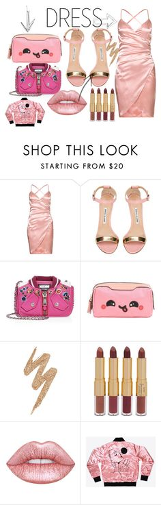 """""""PARTY DRESS"""" by naa215 on Polyvore featuring Manolo Blahnik, Moschino, Anya Hindmarch, Urban Decay, tarte and partydress"""
