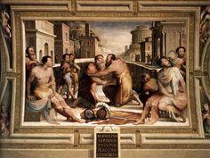 Domenico Beccafumi,the last great artist of the Sienese school,The Reconciliation of Marcus Emilius Lepidus and Fulvius Flaccus (1529-35),fresco in Palazzo Pubblico,Siena.