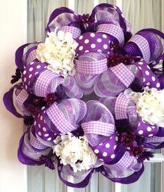 Deco Mesh Purple Polka Dot Wreath @Martha Licatino this is your wreath lol