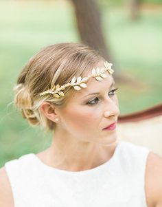 Iola gold leaves headpiece