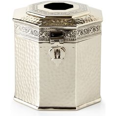 John Robshaw Taxila Tissue Box Cover (1,235 HKD) ❤ liked on Polyvore featuring home, bed & bath, bath, bath accessories, silver and john robshaw