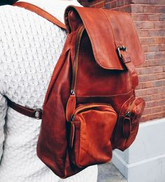 Close up of the Roma leather backpack from MAHI Leather. 1a17fb661e7a2