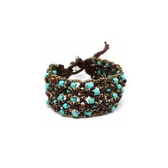 Roxana's Boho Style Turquoise & Brown Beaded Cord Bracelet (42 CAD) ❤ liked on Polyvore featuring jewelry, bracelets, accessories, boho jewelry, boho turquoise jewelry, beading jewelry, brown jewelry and rope bracelet